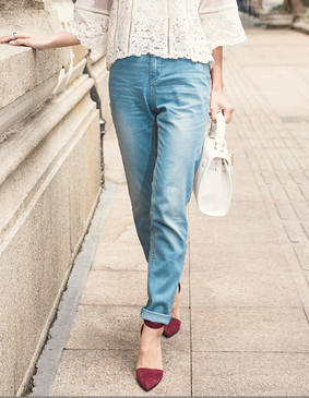 YCAL1-7000 百搭显瘦细脚牛仔长裤 蓝色 XS