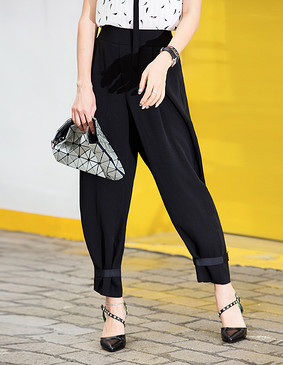 YCBQ4-269 绑带显瘦休闲裤 黑色 XS