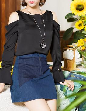 服装积分兑换 YCCQ-501 色块拼接牛仔短裙 蓝色 S
