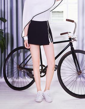 服装积分兑换 YCCQ-022 不规则撞色织带裤裙 黑色 S