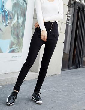 YCDQ-721 高腰排扣显瘦铅笔裤 黑色 L