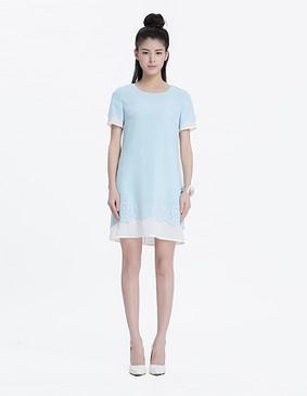 YCAL2-3900 精致撞色花瓣雪纺连衣裙 天蓝色 S
