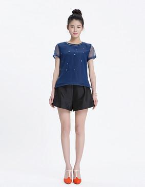 YCAL6-9200 时尚钉珠显瘦小衫 蓝色 S