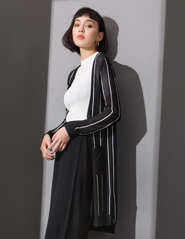 【伊霓裳】YCCL1-336 撞色条纹开衩中长款针织开衫