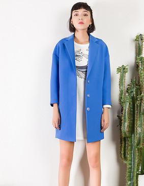 YCCL3-250 斜纹宽松茧型风衣 蓝色 S