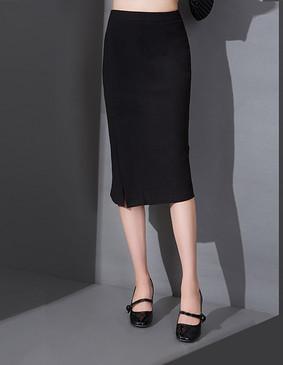 YCCW8-0003 百搭显瘦开叉半身包裙 黑色 S