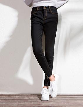 YCCL1-370 经典毛边显瘦小脚牛仔裤 黑色 S