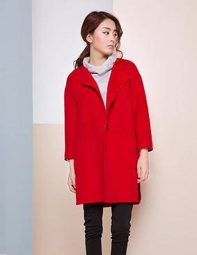 【特惠】 YCDW8-0006 时尚显瘦中长款双面羊毛大衣 红色 L