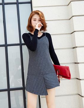 服装积分兑换 YCDQ-018 荷叶边条纹吊带连衣裙 灰色 S
