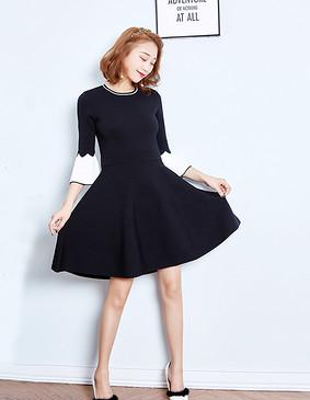 YCDQ-723 撞色荷叶袖毛织连衣裙 黑色 L