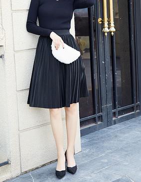 YCDQ-049 时尚百褶PU半身裙 黑色 L