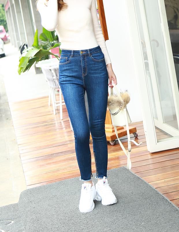 【伊霓裳】YCCB-0012 极简修身高腰铅笔牛仔裤