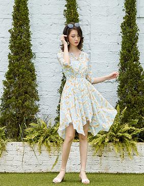 【新品福利】YNS116 夏威夷海风V领连衣裙(配吊带裙)