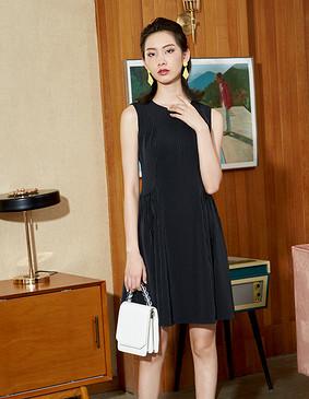 YYBJ-0047 通勤暗条无袖连衣裙 暗条黑 2XL