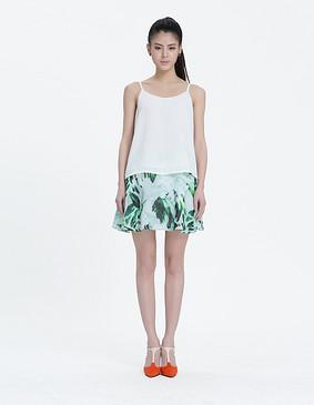 15021 清新印花散摆半身短裙 印花色 S