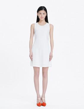 YCAL3-1220 领口钉珠气质显瘦连衣裙 白色 S