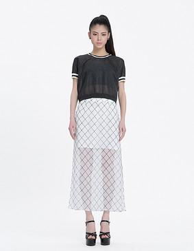 YCAL9-2030 高开叉性感格纹雪纺长裙 白色 S