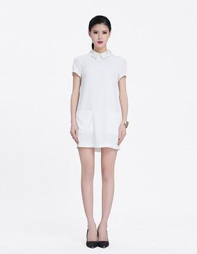 YCAL3-1030 精致简约显瘦连衣裙 白色 S