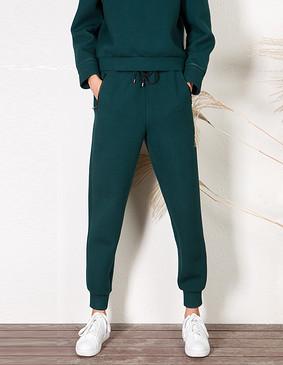 YCDL6-032 拼皮抽绳休闲运动长裤 深水绿色 S