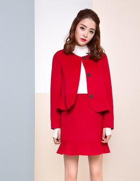 【特惠】 YCDW9-0013 小A型荷叶边俏皮精致双面呢外套 大红色 L