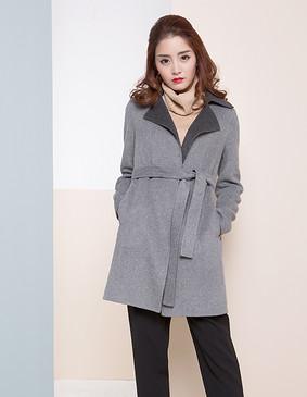 【特惠】 YCDW8-0007 百搭系腰带显瘦双面羊毛大衣 灰色 L