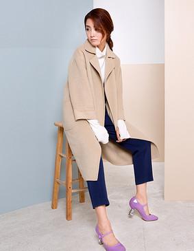 【特惠】 YCDW8-0002 时尚大气长款双面羊毛大衣 灰色 L