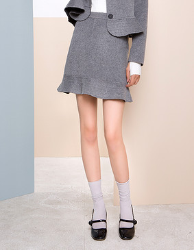 【特惠】 YCDW9-0012 小A型荷叶边俏皮精致双面呢半裙 大红色 L