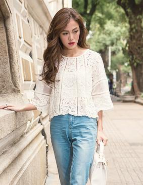 YCAQ2-203 蕾丝宽口袖A摆小衫(附送吊带) 白色 S