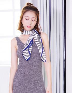 服装积分兑换 YCCQ-607 回字纹围巾 蓝白相间 均码