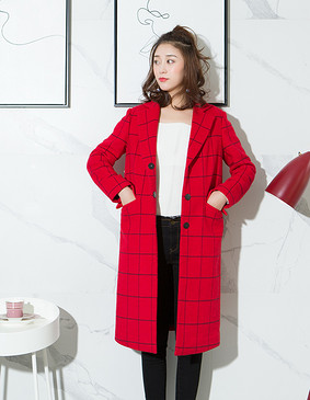 YCDL10-523 极简方格纹呢长大衣 红色 S