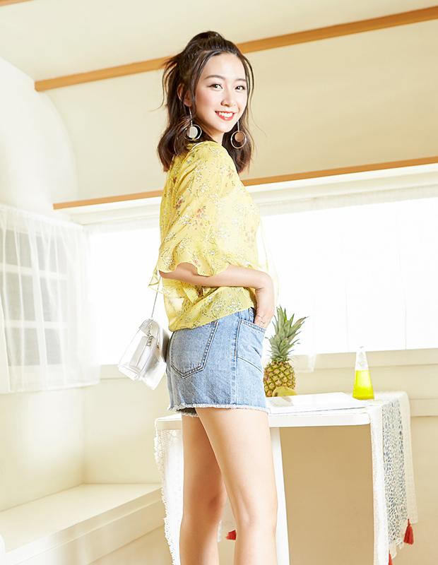 【伊霓裳】YCAB-019 高腰毛边百搭牛仔短裤