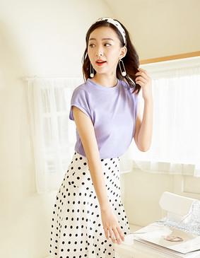 服装积分兑换 YCAB-016 进口亮丝盖肩T恤 浅紫色 XS