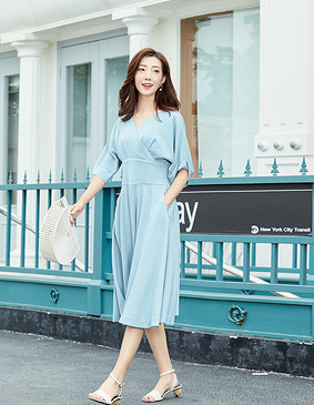 YYBJ-0030 复古V领高腰优雅连衣裙 尼罗河蓝 2XL