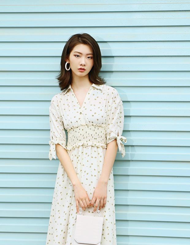 【伊霓裳】D190736-1 夏日沫沫茶碎花连衣裙