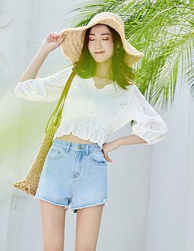 服装积分兑换 YYBJ-0031 超仙镂空绣花小衫(配抹胸) 珍珠白 XS