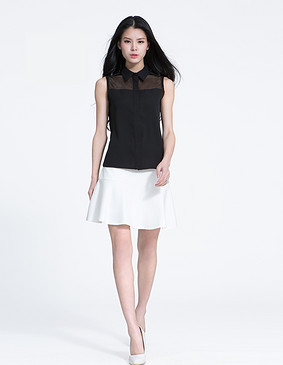 YCAL1-2000 时尚荷叶边半身裙 白色 S