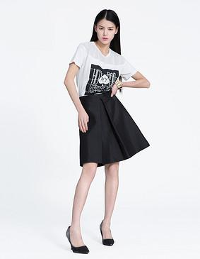 YCAL1-1500 显瘦线条时尚百搭半裙 黑色 S