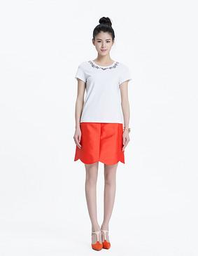 YCAL3-1170 简约时尚钉珠绣花T恤 白色 S