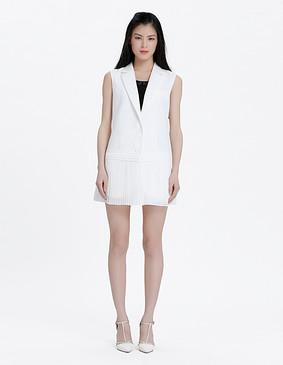 YCAL1-2270 简约大气拼接百褶无袖外套 白色 S