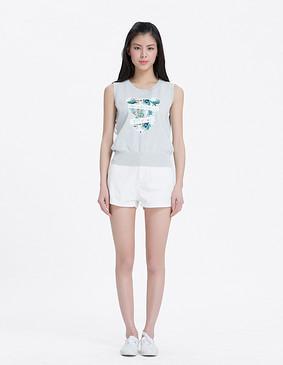YCAL1-2310 水溶花显瘦短裤 白色 S