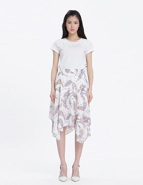 YCAL1-2330 精致蕾丝盘花钉珠T恤 白色 S