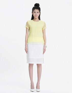 YCAL3-5600 优雅质感透视半裙 白色 S