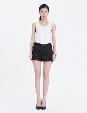 服装积分兑换 YCAL3-2350 圆领纯色透视边背心 白色 L