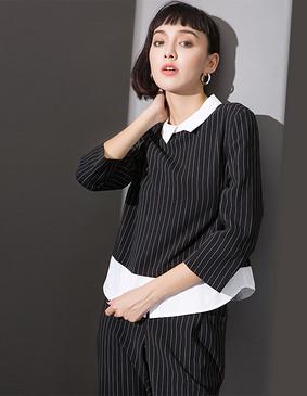 YCCL1-236 衬衫假两件式条纹八分袖上衣 黑白条 XS