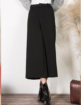 YCDL6-399 休闲舒适九分阔腿裤 黑色 XS