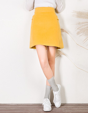 YCDL9-450 复古A摆呢半裙 黄色 XS