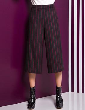 YCDL7-437 条纹撞色拼接八分阔腿裤 红条 S
