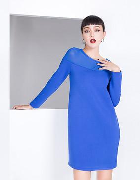 YCDL8-073 拼接优雅连衣裙 蓝色 S