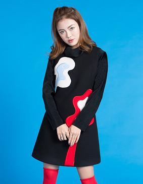 YCDL10-526 抽象贴布绣背心裙 黑色 S
