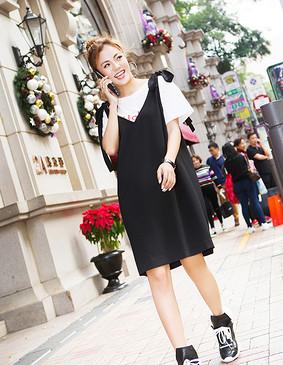 YCBQ5-110 系带背心绣花套装 黑色 S